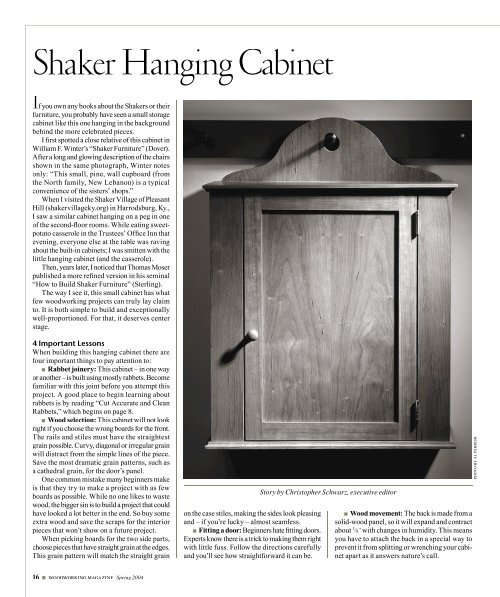 Shaker Hanging Cabinet Popular Woodworking Magazine