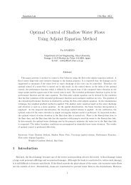 Optimal Control of Shallow Water Flows Using Adjoint Equation ...