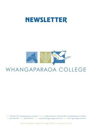 NEWSLETTER - Whangaparaoa College