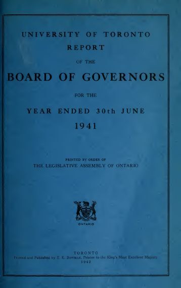 University of Toronto Report of the Board of Governors for ... - Index of