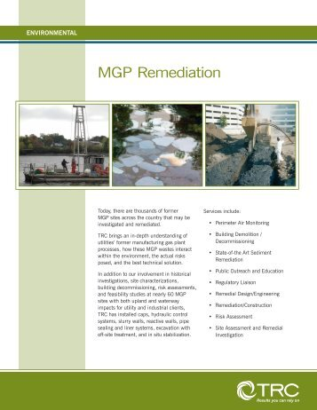 Manufactured Gas Plant Site Remediation - TRC Companies, Inc.
