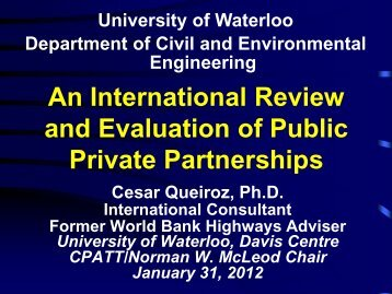 An International Review and Evaluation of Public Private