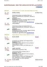 Kursprogramm 2004 - Ländliche Reiter und Fahrer in Niederösterreich