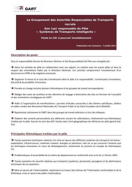 Fiche De Poste Responsable Pa Le Its Pdf Gart