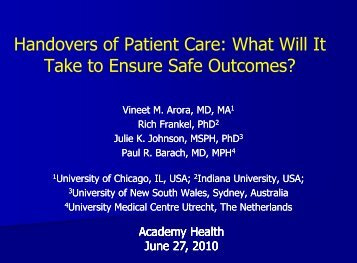 Handovers of Patient Care: What Will It Take to Ensure Safe ...