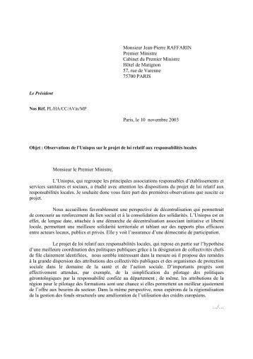 1 lettre d'intervention nov 03.pdf - Uniopss
