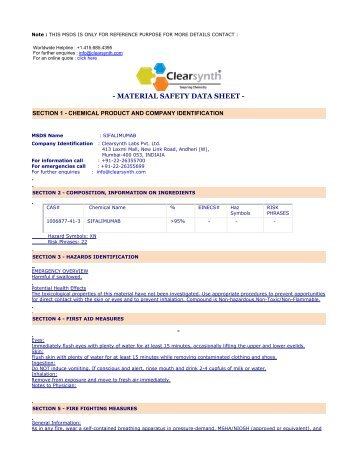 SIFALIMUMAB-Material Safety Datasheet - clearsynth