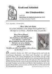 Kraft und Schönheit der Glaubenslehre - Katholische ...