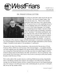 May/June issue of WestFriars - Holy Name Province