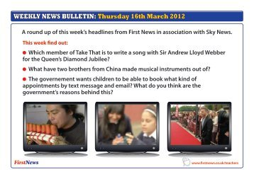 WEEKLY NEWS BULLETIN: Thursday 16th March 2012 - First News