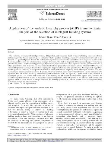 Application of the analytic hierarchy process (AHP) in multi-criteria ...