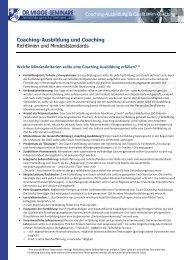 Coaching-Qualität - zur Coaching-Ausbildung