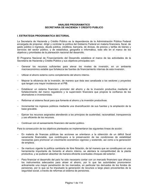 Anã Lisis Programã Tico Secretarãa De Hacienda Y Crã Dito