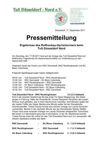 Pressemitteilung Ergebnisse des Rollhockey-Herrenturniers beim ...