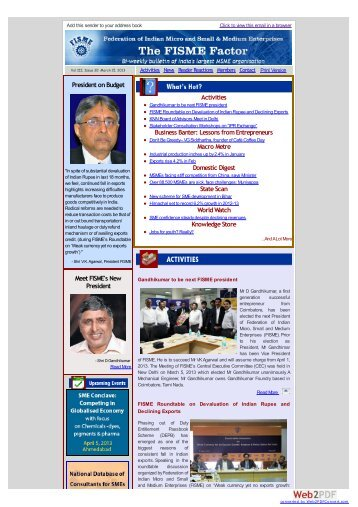 FISME Newsletter - Vol III, Issue 30: March 15, 2013 - Federation of ...