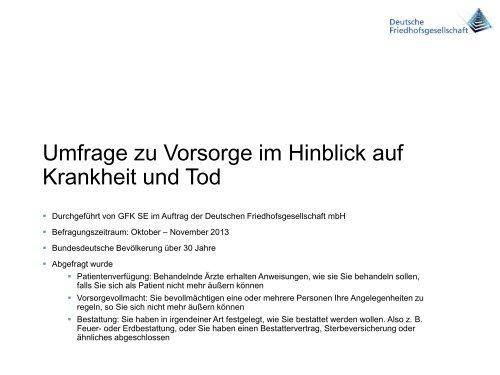 Umfrage zu Vorsorge für Krankheit - Deutsche Friedhofsgesellschaft