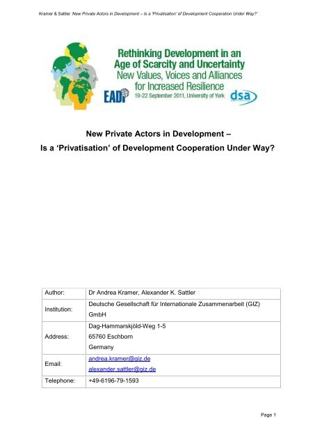 New Private Actors in Development – Is a 'Privatisation