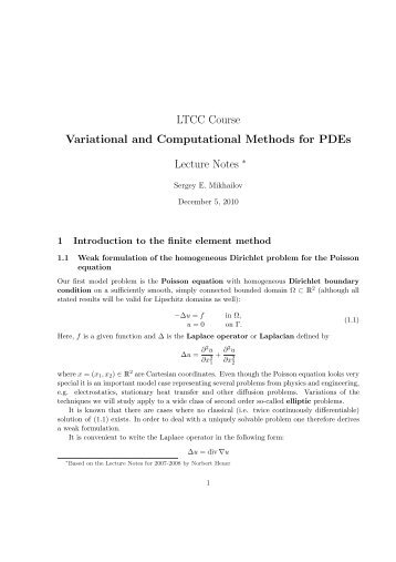 LTCC Course Variational and Computational Methods for PDEs ...