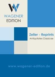 Wagener Edition - Zeller Reprints - Antiquitates Classicae