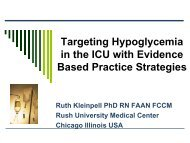 Targeting hypoglycemia in the ICU with evidence-based practice ...