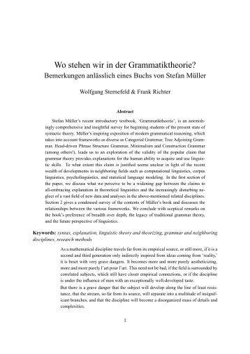 Wo stehen wir in der Grammatiktheorie? - English Linguistics