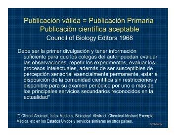 Publicación válida = Publicación Primaria Publicación ... - FMV