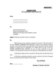 (To be submitted in tender bid part-II) From - MVVNL