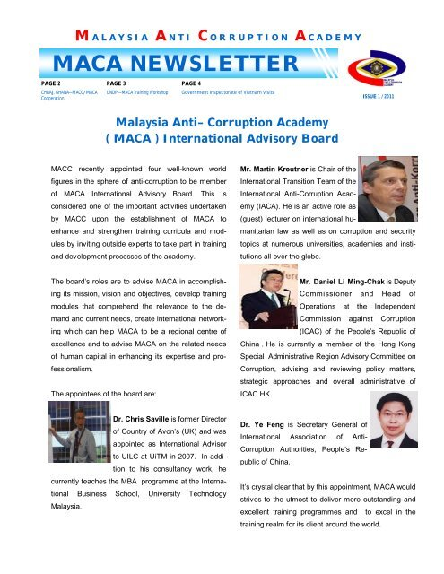 MACA NEWSLETTER