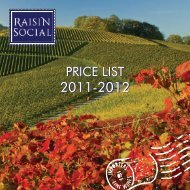 the Raisin Social Price List for 2011/2012