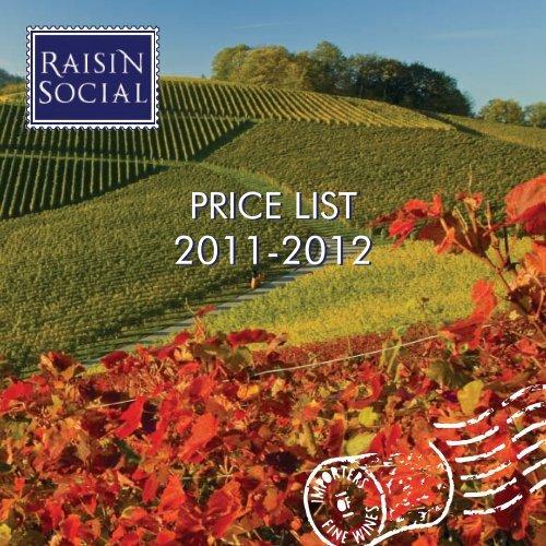 the Raisin Social Price List for 2011/2012