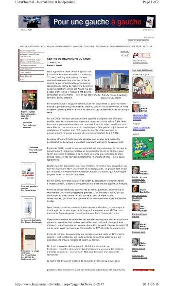 Page 1 of 2 L'Aut'Journal - Journal libre et indépendant 2011-05-16 ...