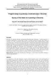 Pregled stanja na področju e-izobraževanja v Sloveniji Survey of the ...