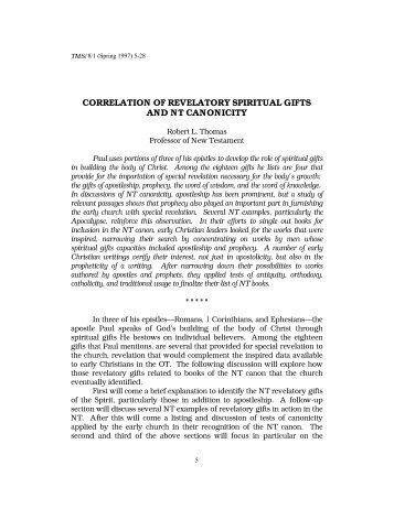 Correlation of Revelatory Spiritual Gifts and NT Canonicity