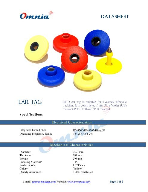 Ear tag - RFID Tag india