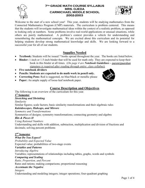 umass math course page