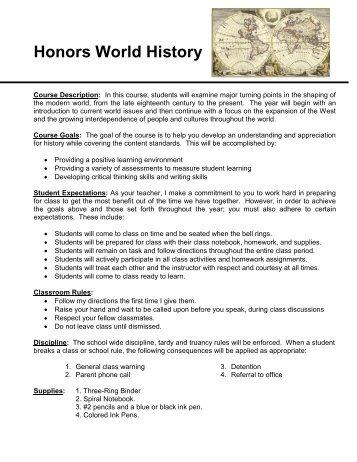 World History Syllabus 2010-2011 - Rowland High School