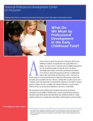 What Do We Mean by Professional Development in the ... - Head Start