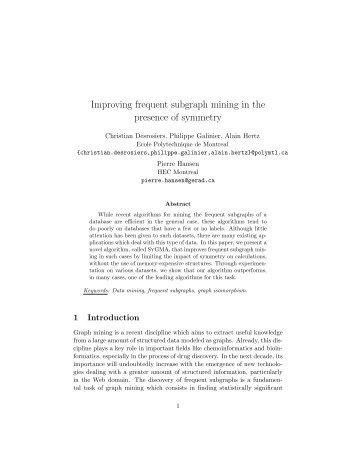 Improving frequent subgraph mining in the presence of ... - gerad