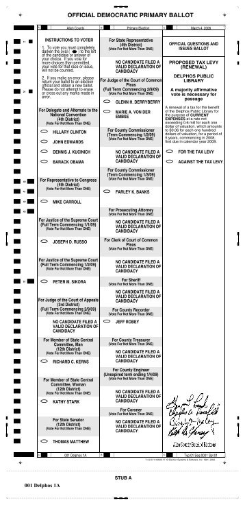 OFFICIAL DEMOCRATIC PRIMARY BALLOT