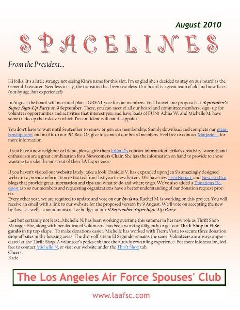 S P A C E L I N E S - Los Angeles Air Force Spouses Club