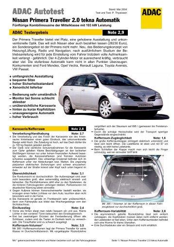 Umfassender Test Nissan Primera Traveller 2.0 tekna ... - ADAC