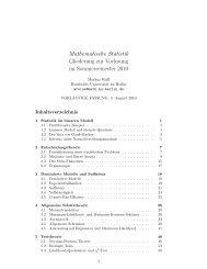 Mathematische Statistik Gliederung zur Vorlesung im ... - HU Berlin