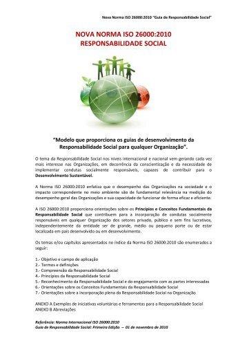 nova norma iso 26000:2010 responsabilidade social - Sicepot-MG
