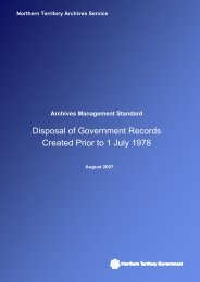 Disposal of Government Records Created Prior to 1 July 1978