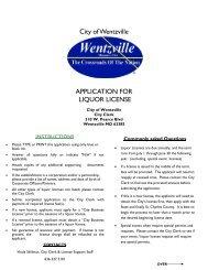 Liquor License Application - The City of Wentzville | Missouri
