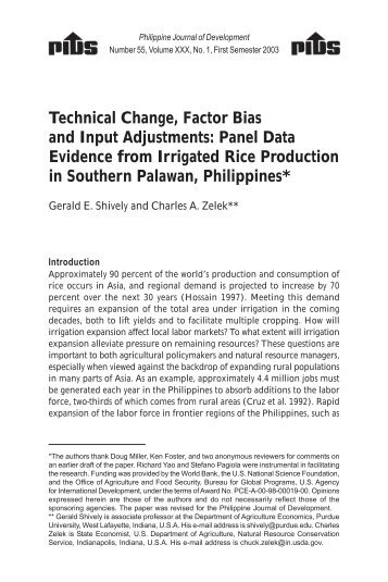 Panel Data Evidence from Irrigated Rice Production in Southern