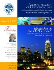 Headaches & the TMD Patient: - American Academy of Craniofacial ...