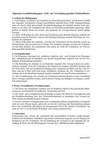 AGBs für Verbraucher - König Komfort- und Rennsitze GmbH