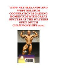 wbpf netherlands and wbpf belgium cooperation is gaining ... - ABBF