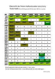 Übersicht der freien Hallenstunden 2012/2013